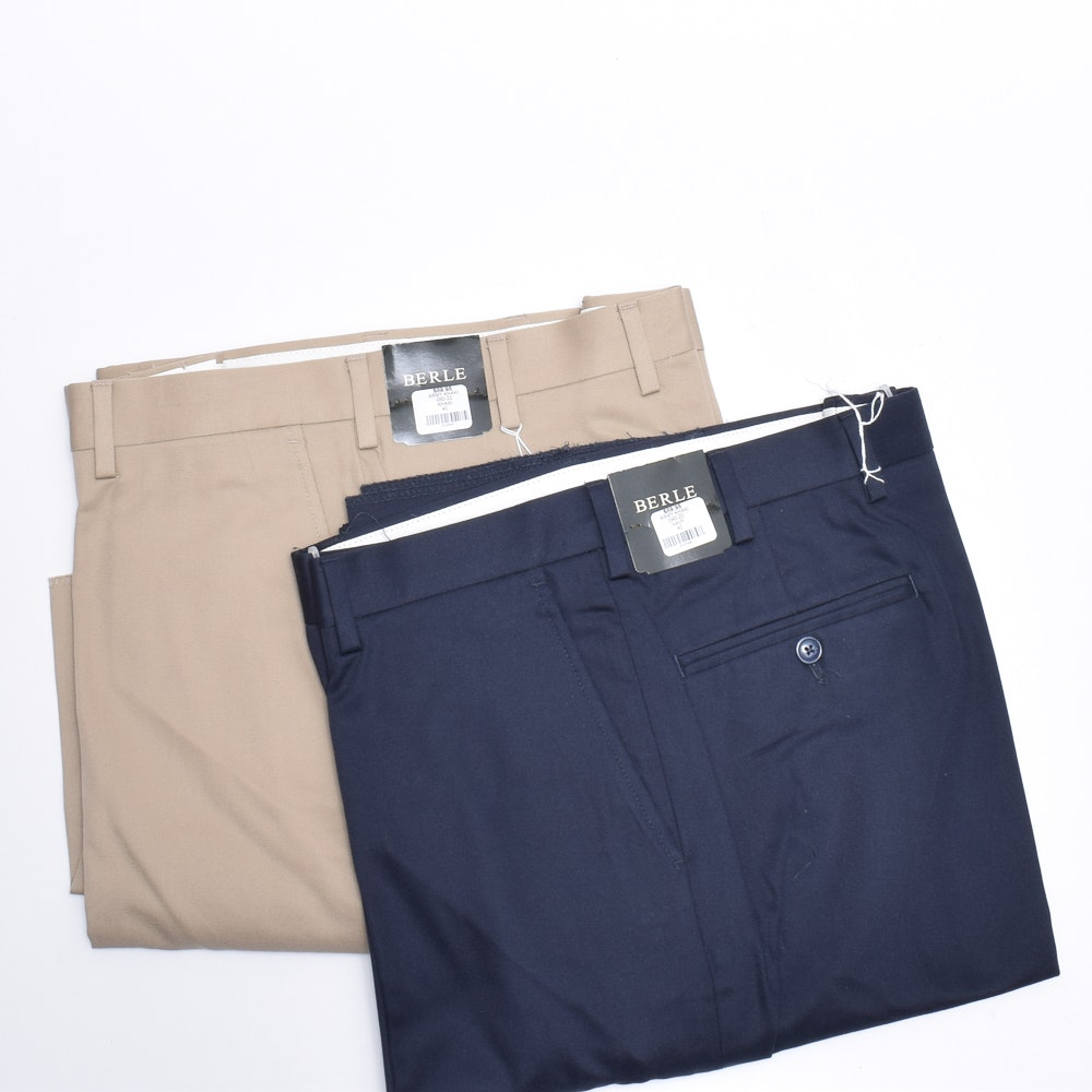 Men's Berle Navy and Khaki Cotton Blend Pants