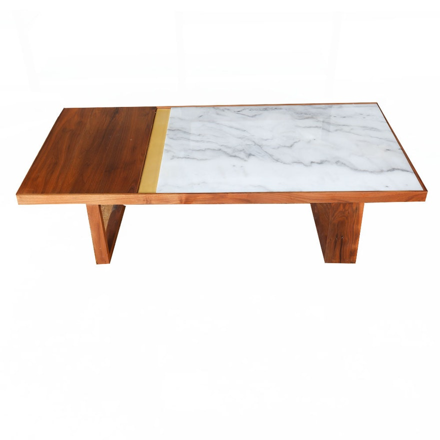 Walnut And Marble Coffee Table By Organic Modernism EBTH - Walnut and marble coffee table
