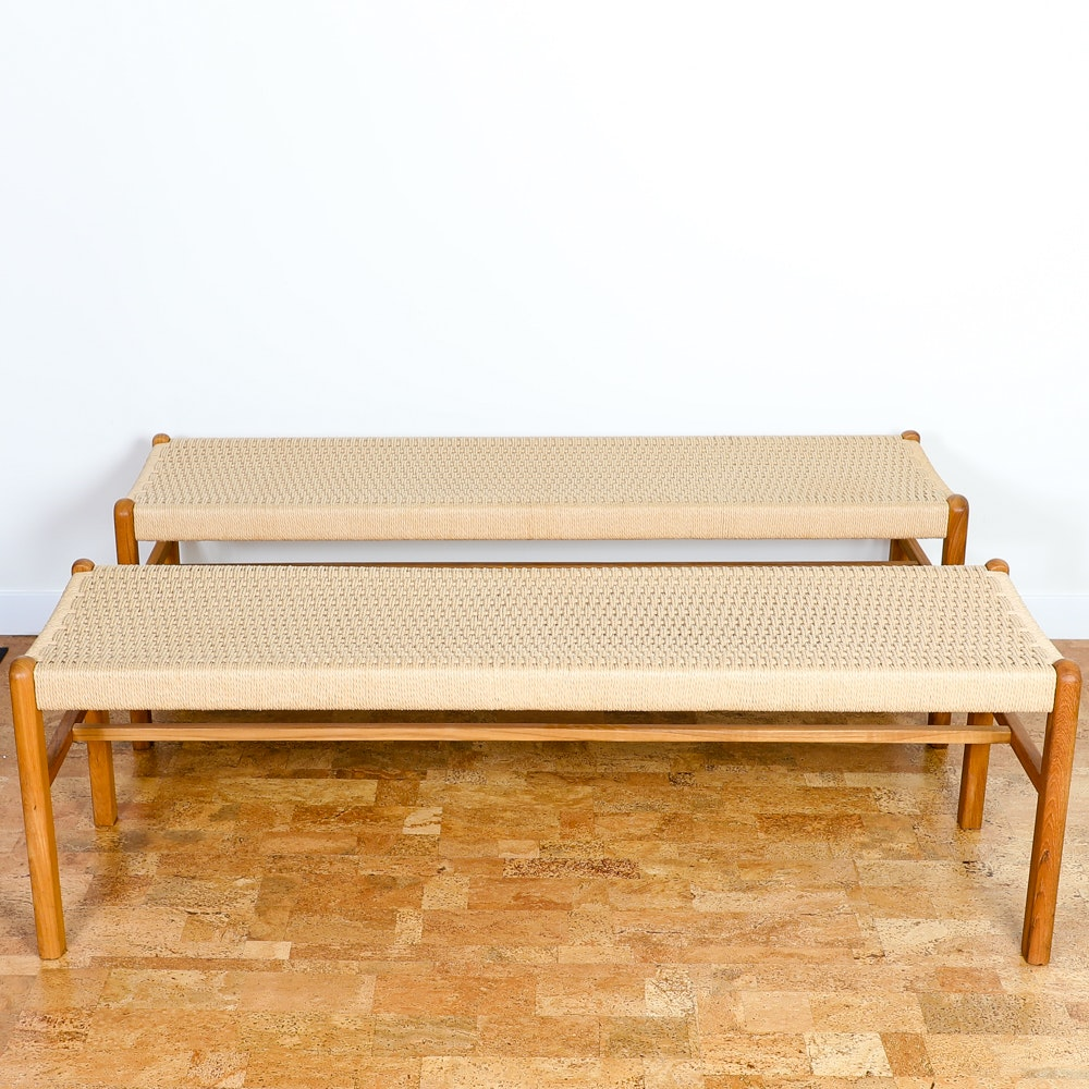 Sun Cabinet Teak Benches with Woven Rope Seats
