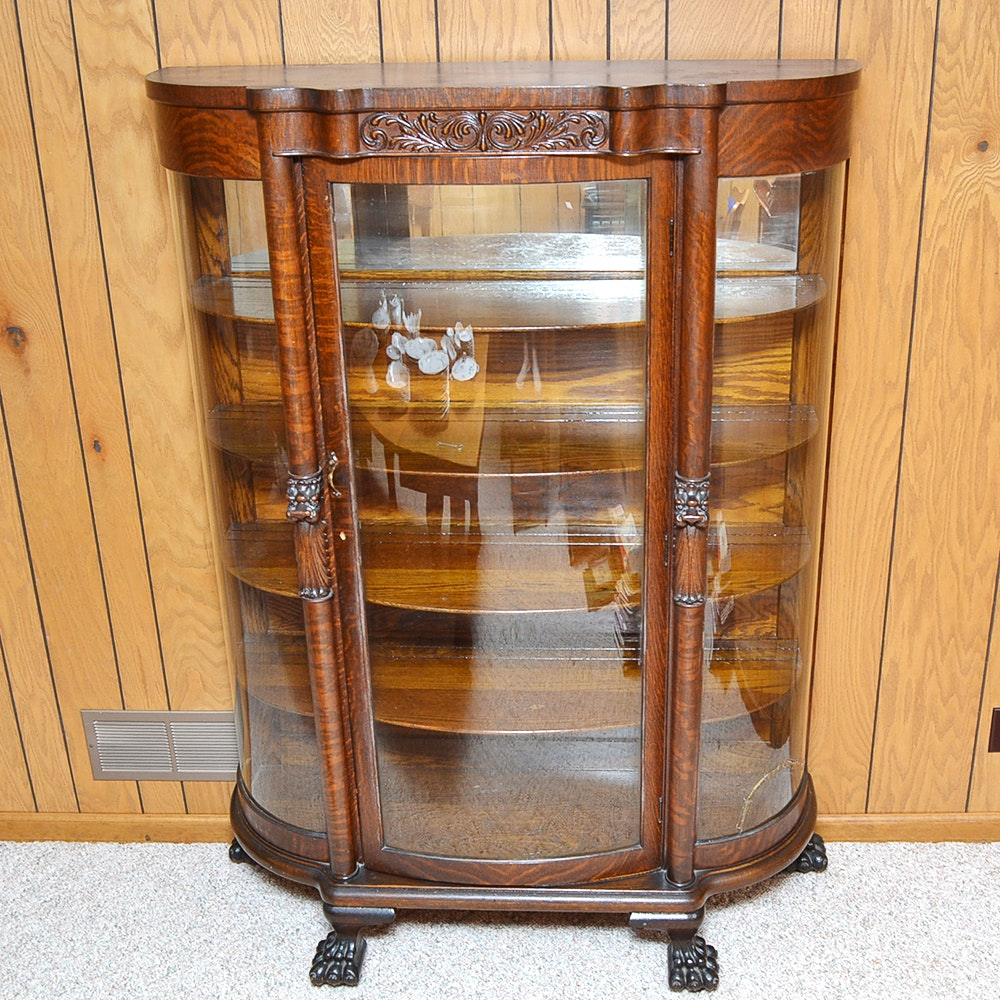 oak curio cabinets for sale antique glass and oak bow front curio cabinet ebth 23842