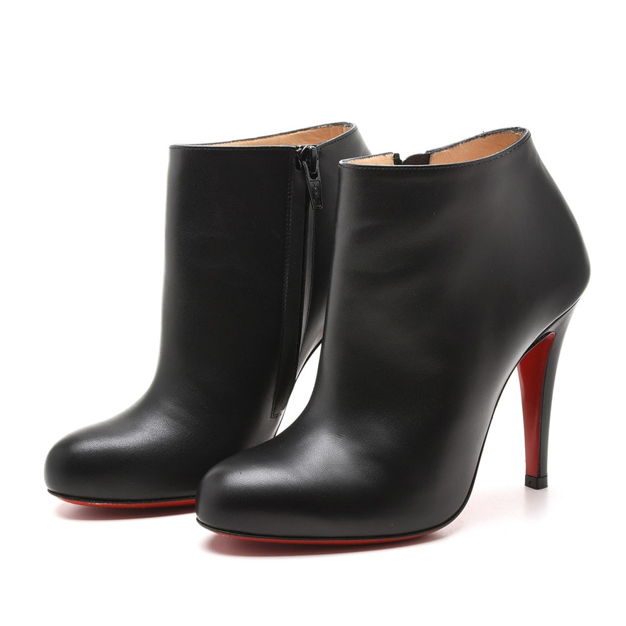 aad658d85a2 Christian Louboutin Belle 100 mm Black Leather Ankle Boots   EBTH