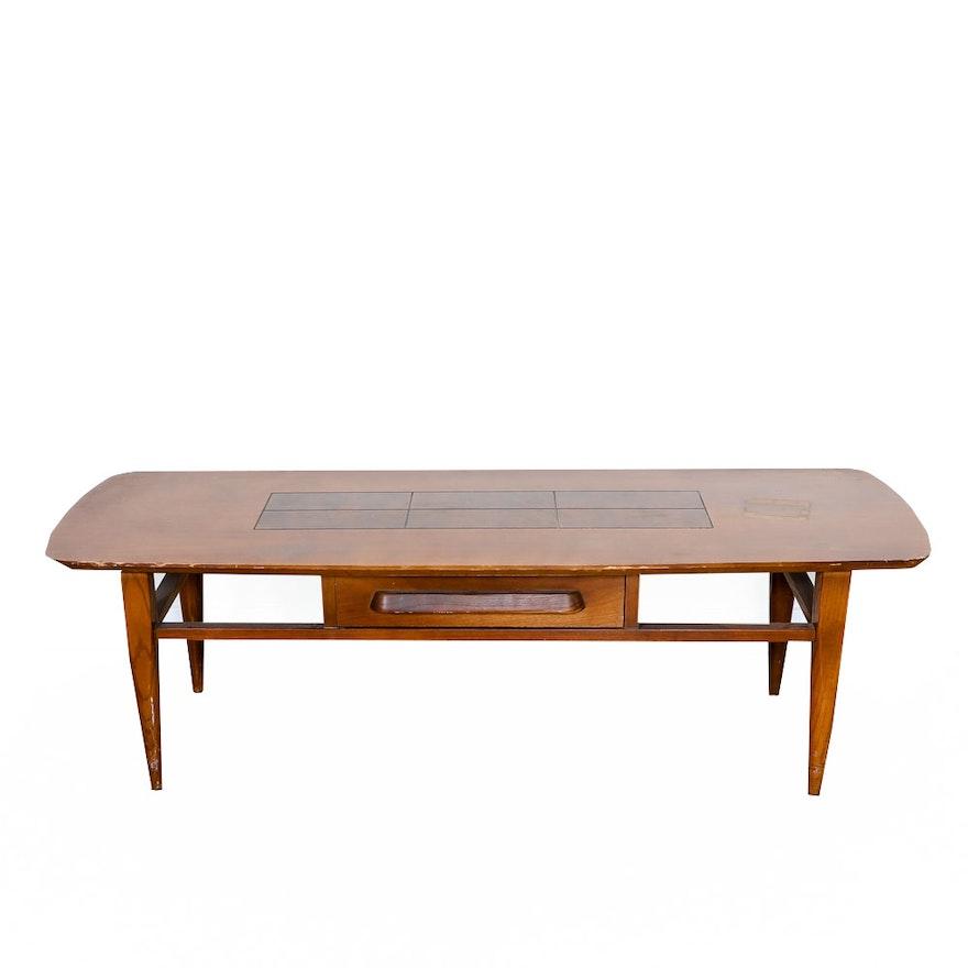 Mid Century Modern Coffee Table With Geometric Pattern Top Drawer - Mod century modern coffee table