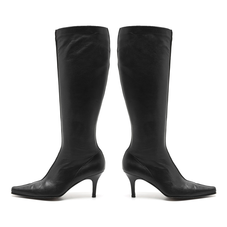 af04193d585d Stuart Weitzman Black Leather Boots with Kitten Heel