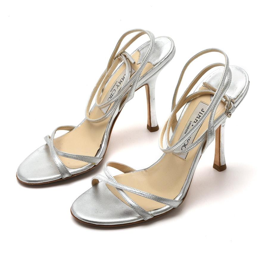 a6544f21f41fac Jimmy Choo Silver Leather Strappy Sandals   EBTH