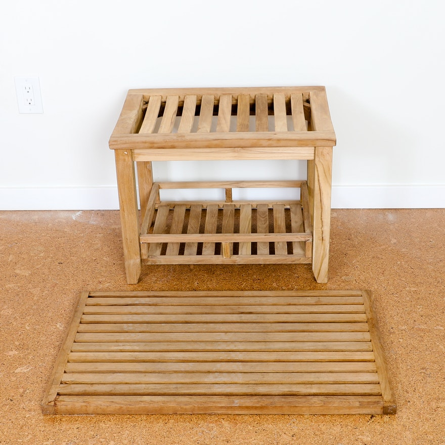 Teak Wood Shower Bench and Mat : EBTH