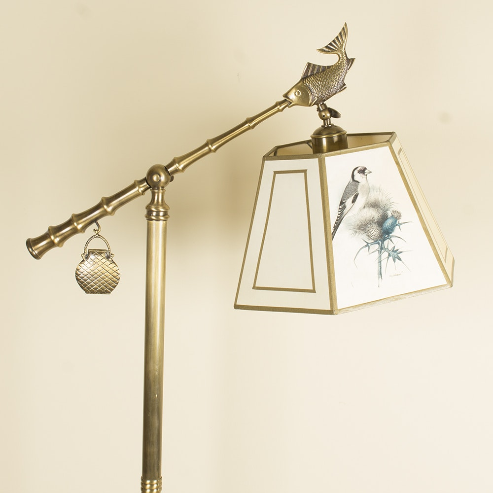 Gommer Brass Adjustable Floor Lamp with Signed Shade