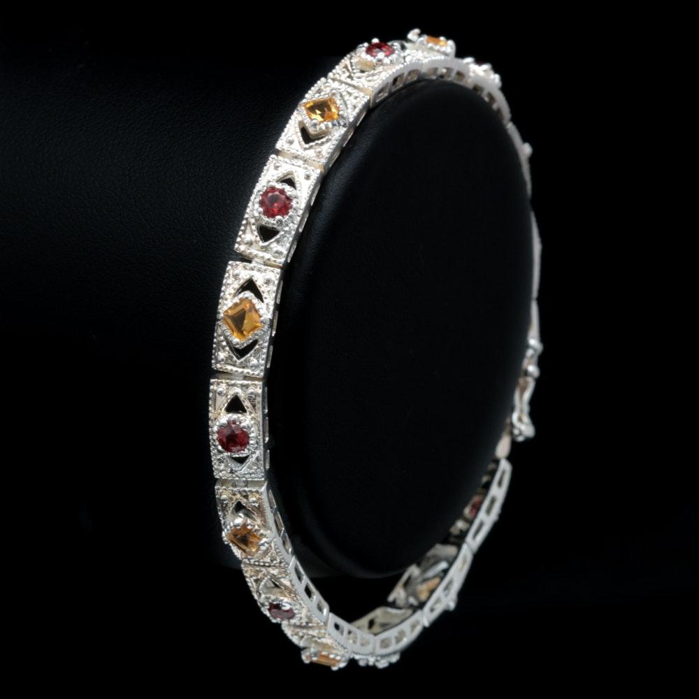 Sterling Silver, Citrine and Garnet Bracelet