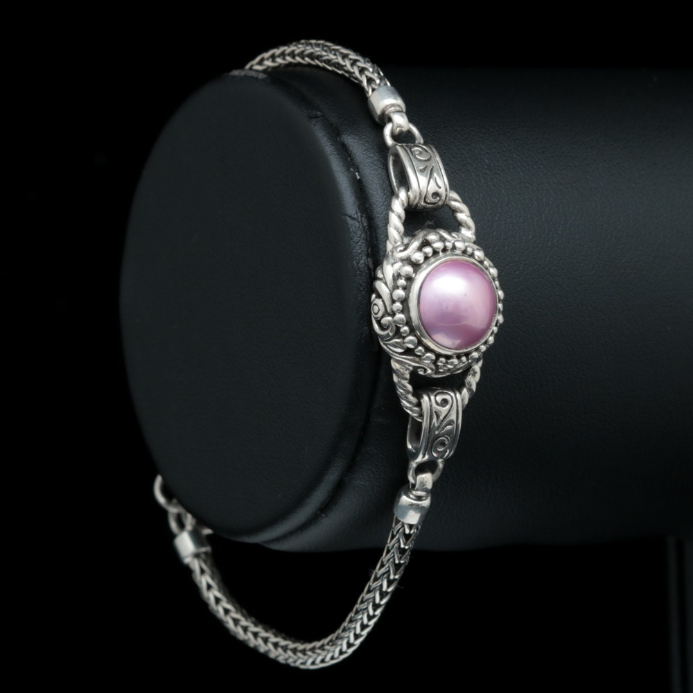 Sterling Silver and Dyed Pink Mabé Pearl Bracelet