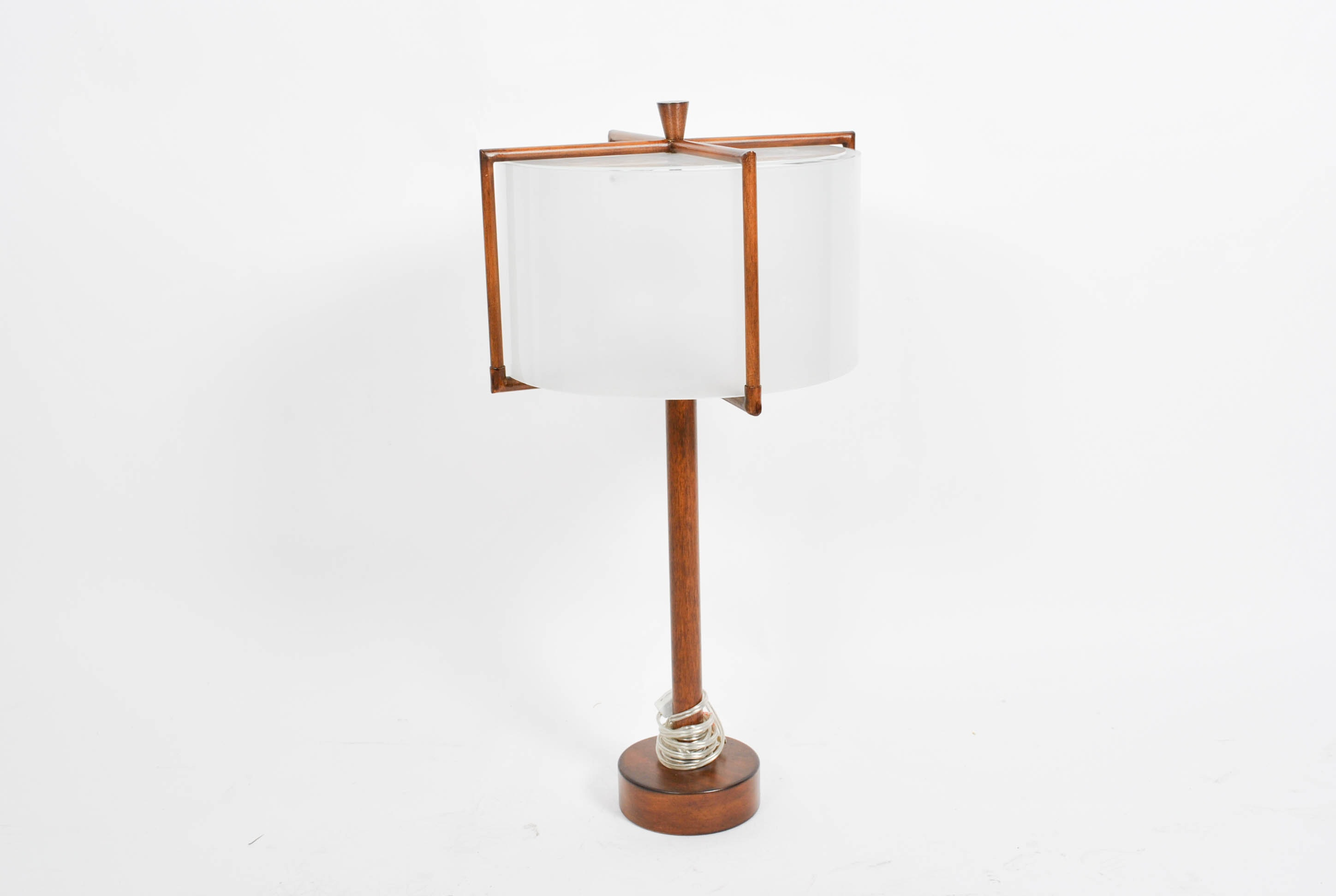 Mid Century Modern Style Wood And Glass Table Lamp Ebth
