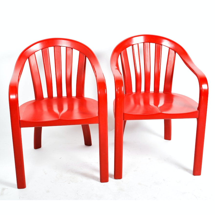 vintage red painted courthouse chairs by gunlocke ebth
