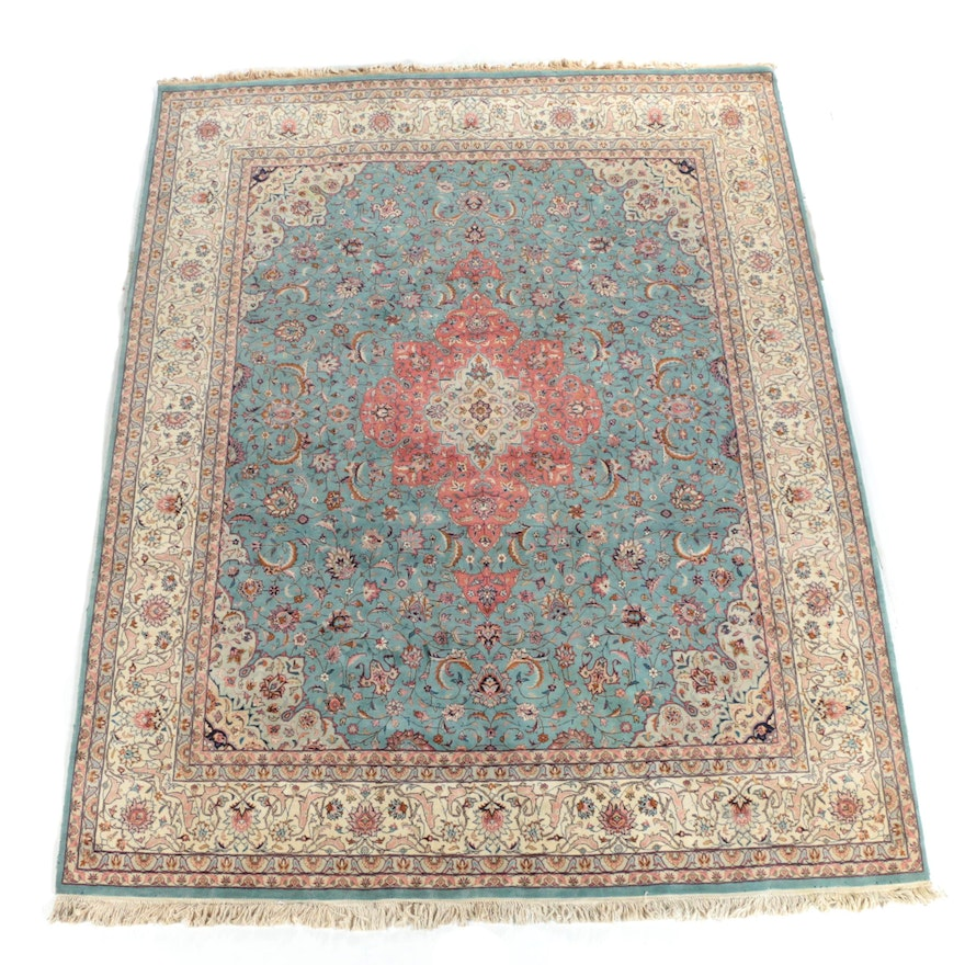 Hand Knotted Persian Wool Area Rug Ebth: Hand-Knotted Persian Tabriz Wool Area Rug