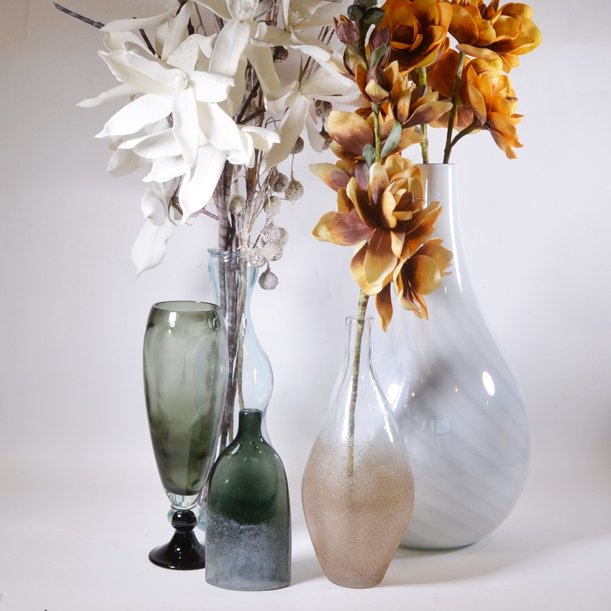 Blown Glass Vase Assortment And Faux Stems Ebth