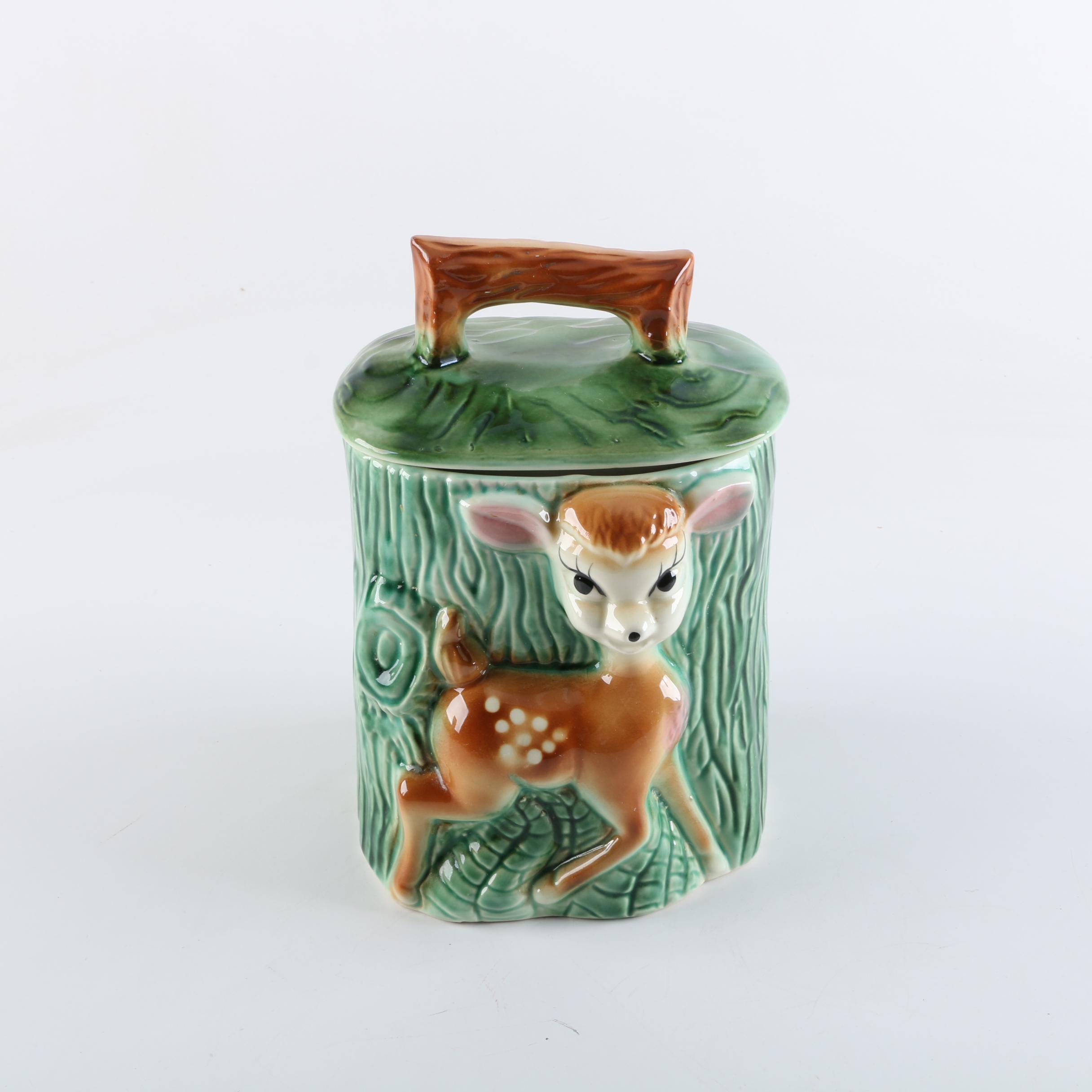 Vintage American Bisque Fawn Ceramic Cookie Jar