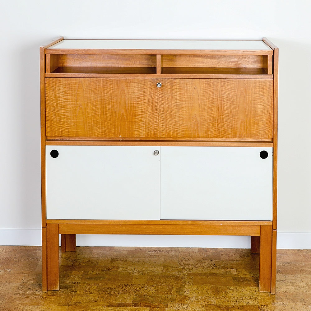 Contemporary Modern Style Wood Color Block Bar Chest with Lockable Doors