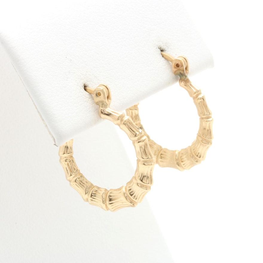 3c2e2b7d4 14K Yellow Gold Bamboo Hoop Earrings : EBTH
