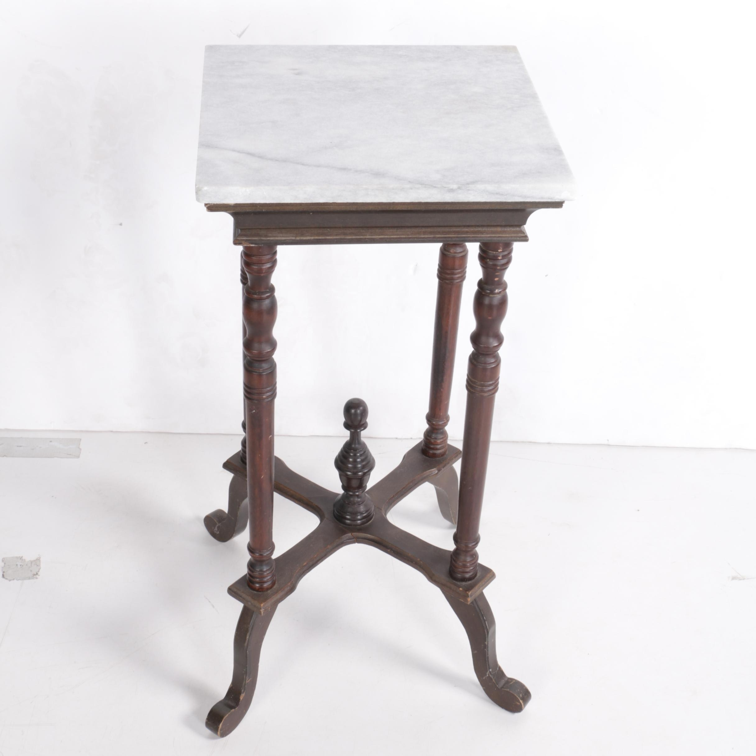 Vintage Marble Top Accent Table Ebth