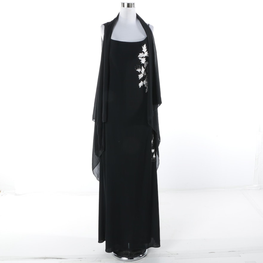 JS Boutique Black Embroidered Evening Gown with Sheer Vest : EBTH