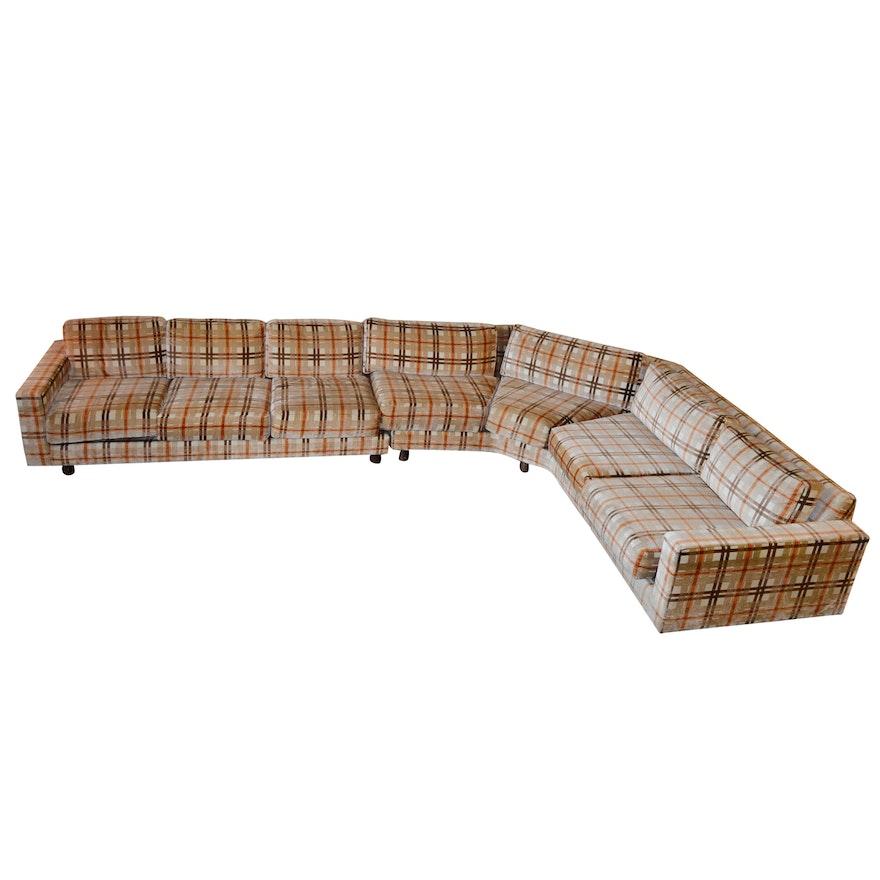 Mid Century Modern Sectional Sofa with Walnut Corner Table