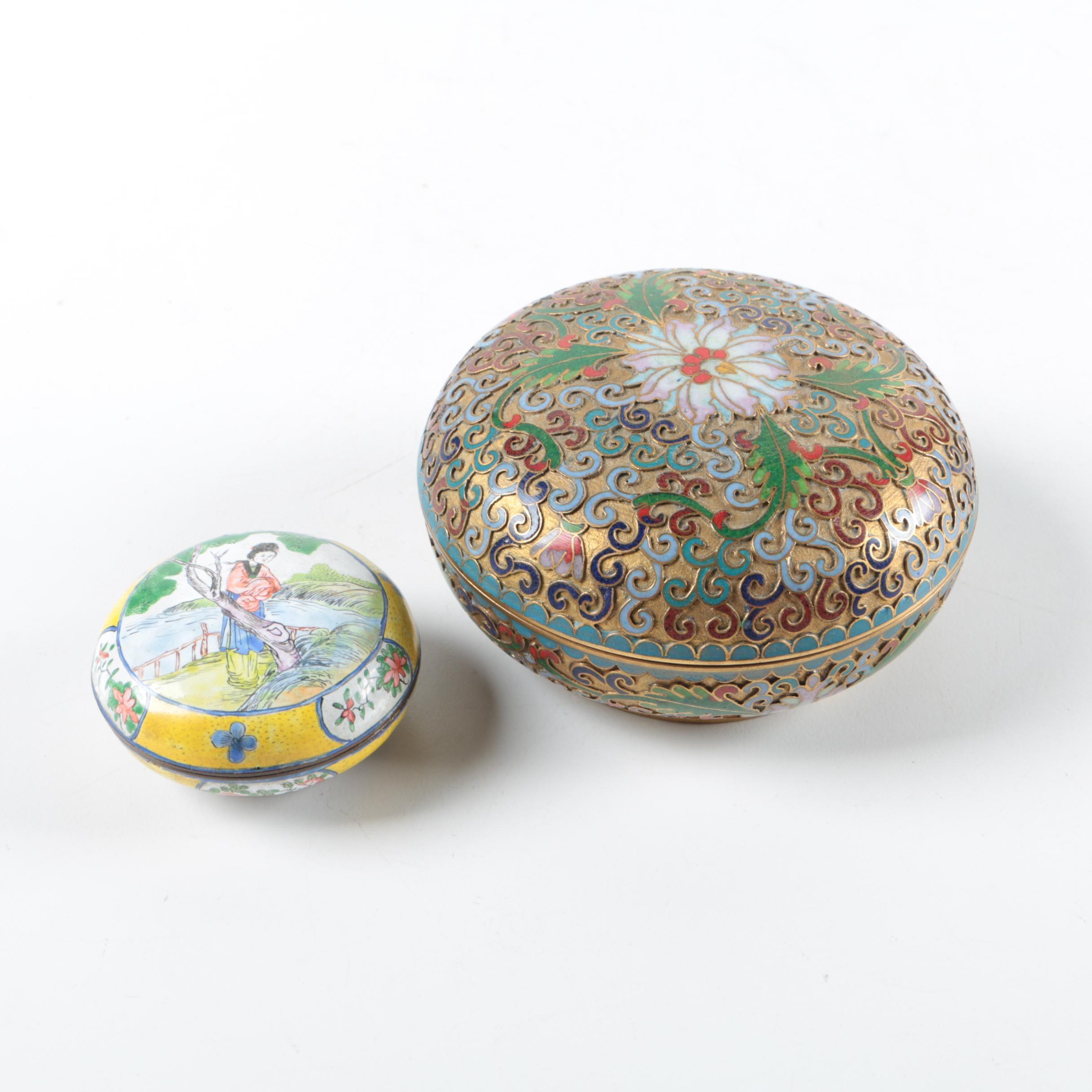 Chinese Enameled Trinket Boxes