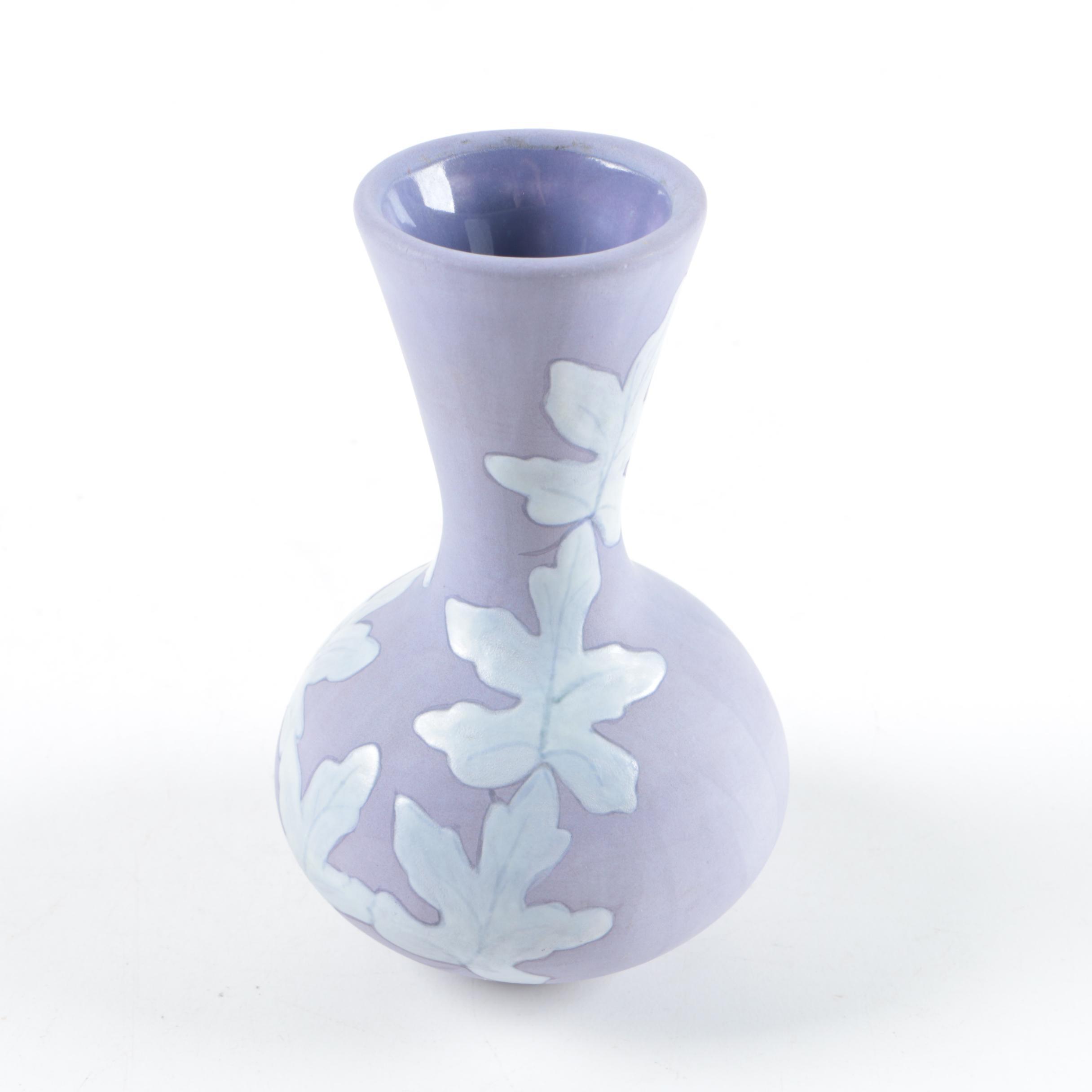 Vintage Leaf Motif Ceramic Bud Vase