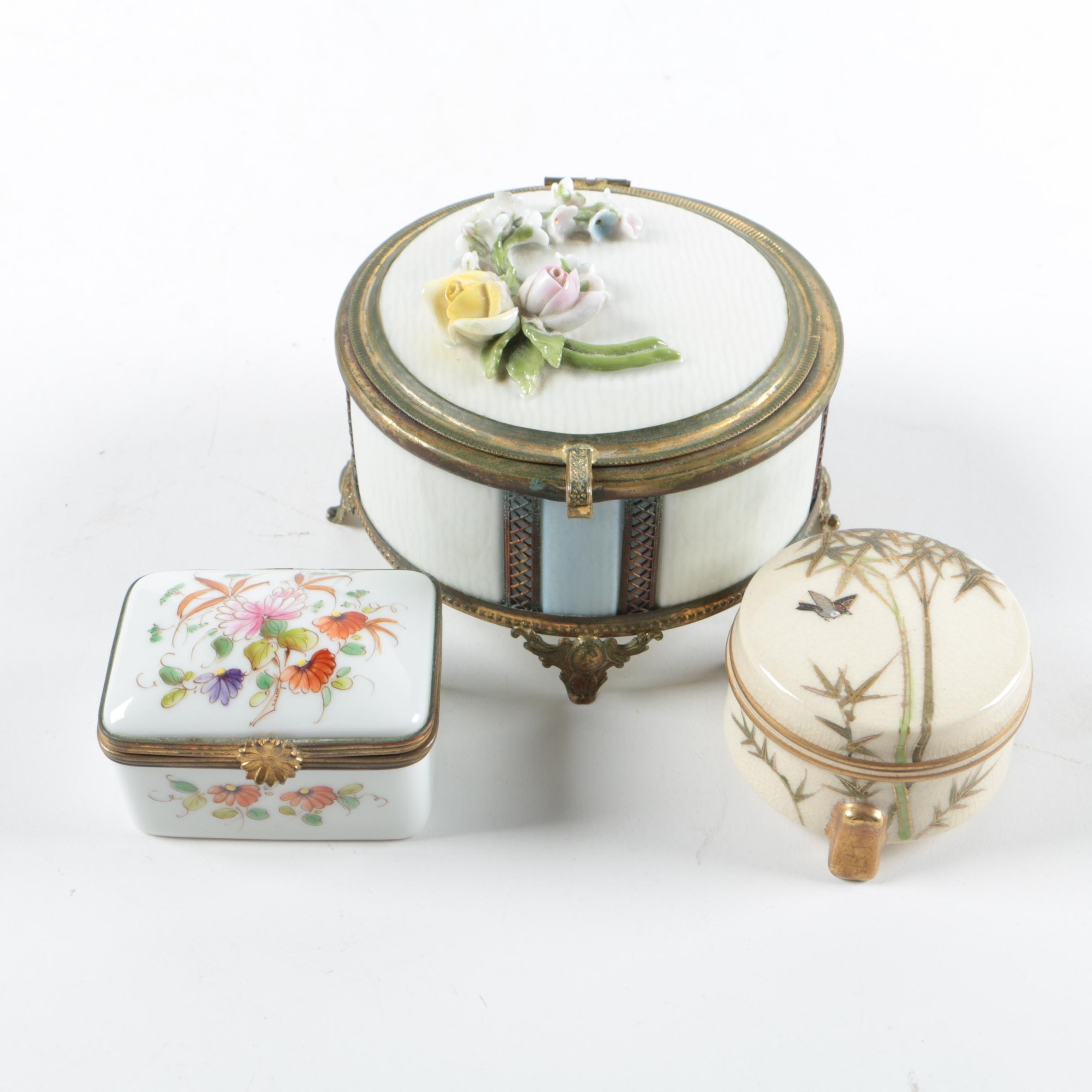 Trinket Boxes Including Hand-painted Limoges