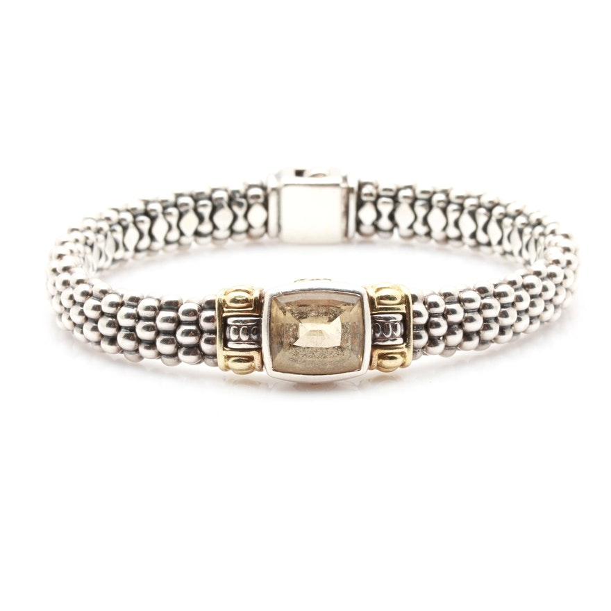6fa52225d00 Caviar by Lagos Sterling Silver Citrine Bracelet With 18K Yellow Gold  Accents ...