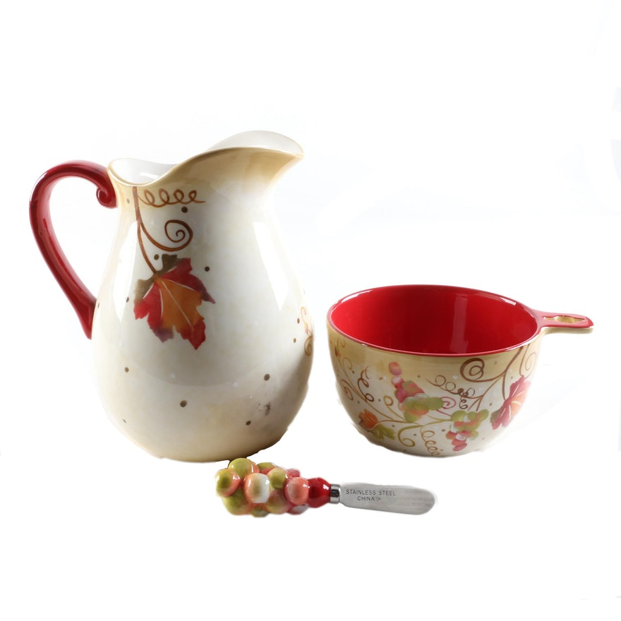 Ganz Bella Casa Ceramic Pitcher And Serving Bowl