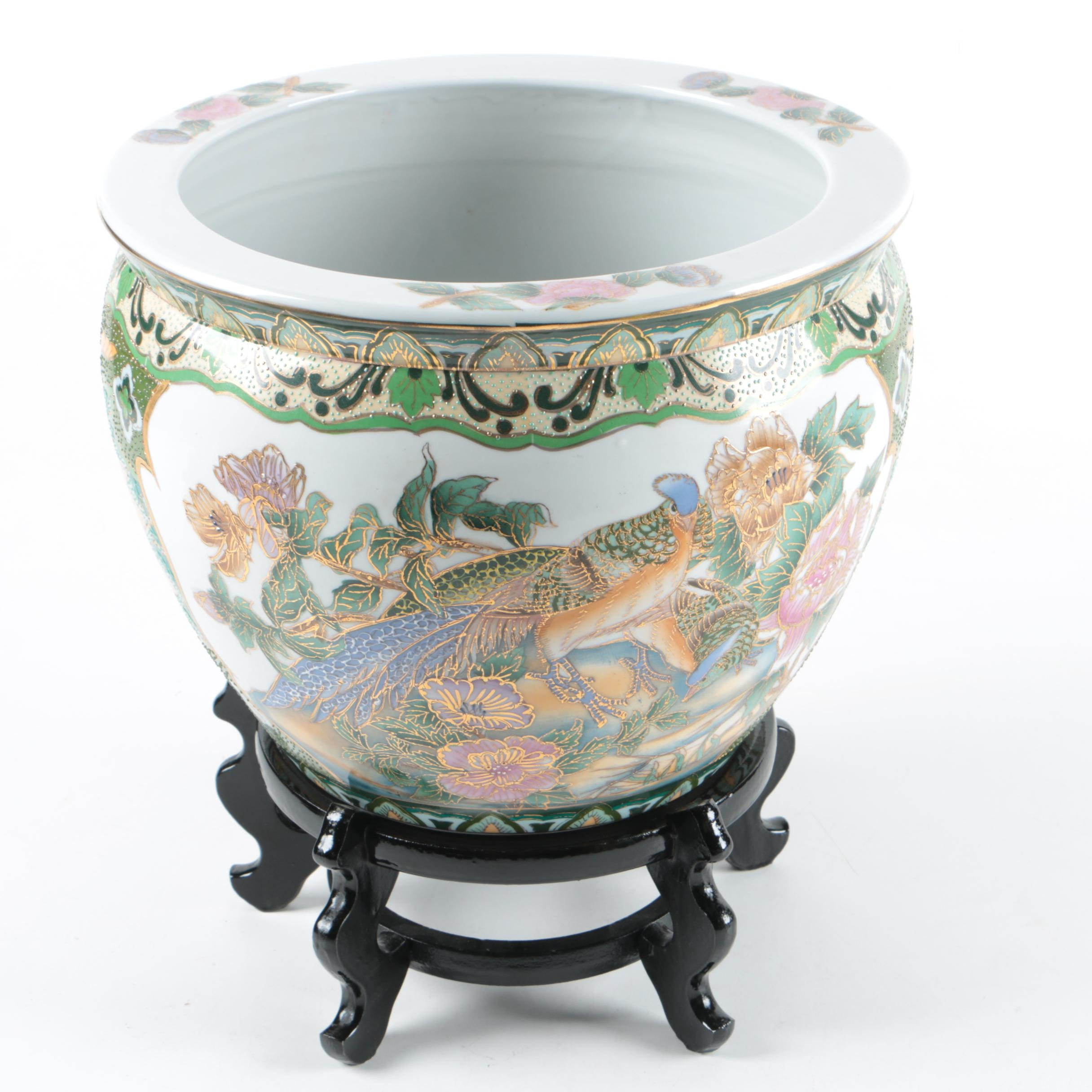 Asian Style Bird and Foliate Motif Ceramic Planter with Wooden Stand