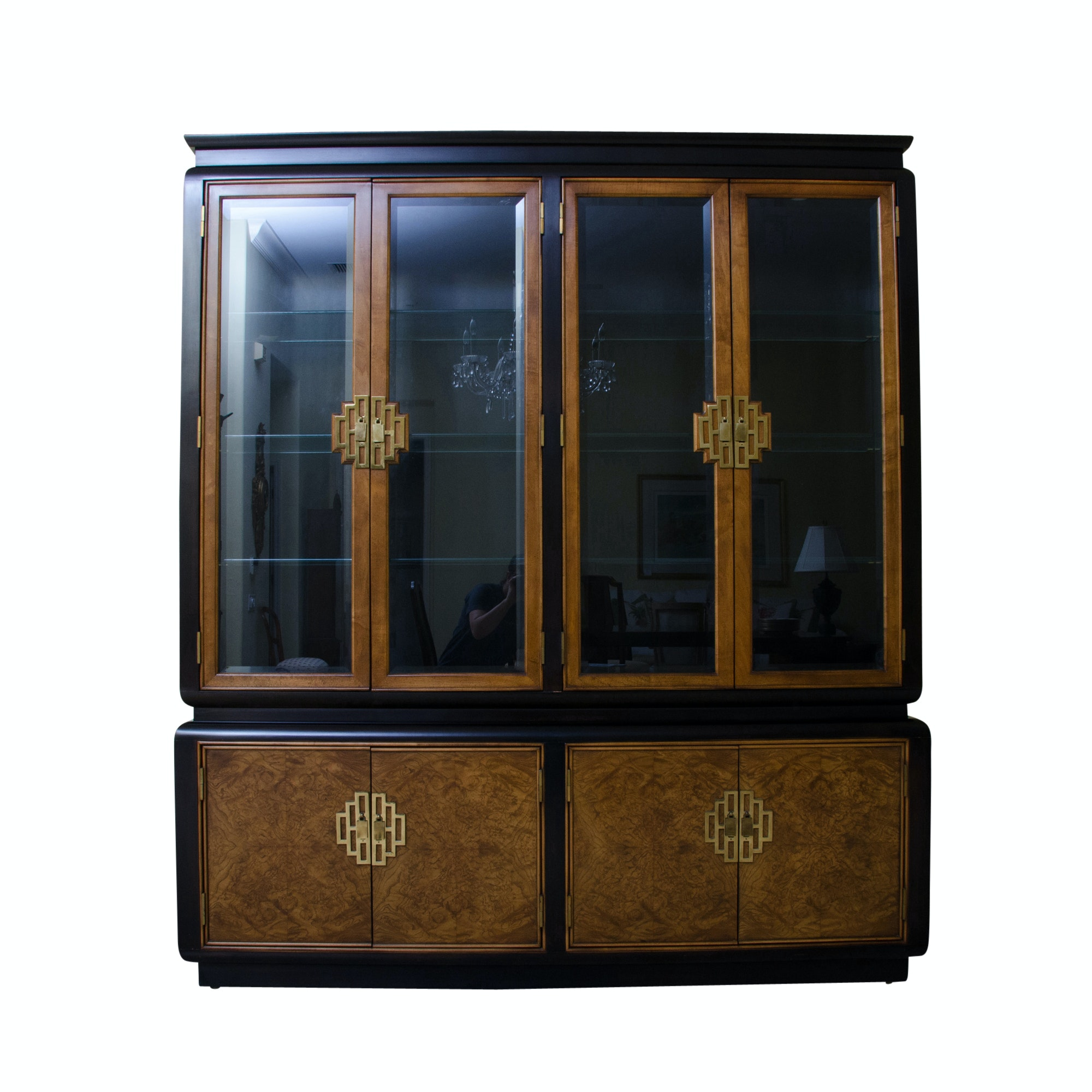 Chinese Inspired Lighted Display Cabinet