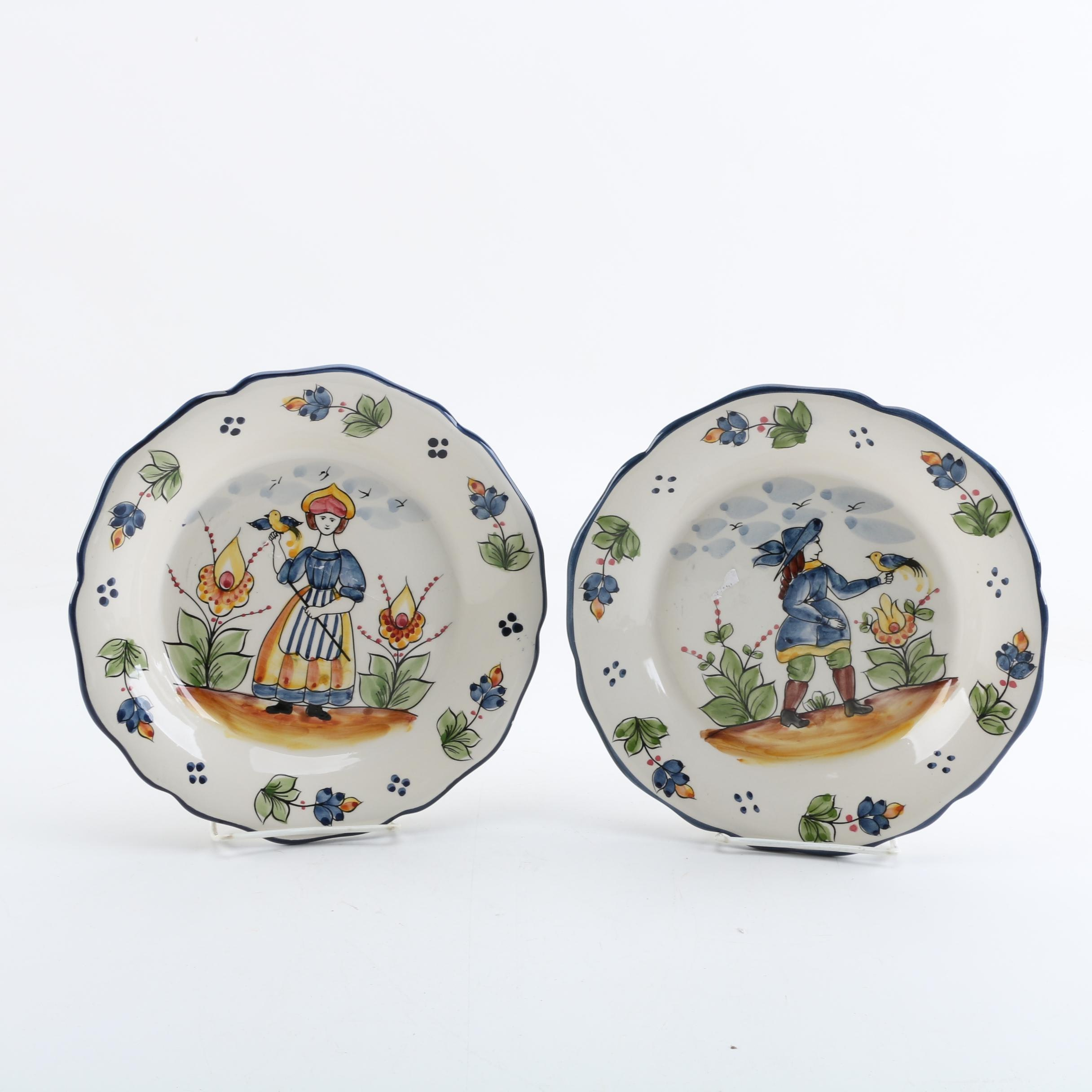 """Jay Willifred """"Blue French"""" Hand Painted Plates"""