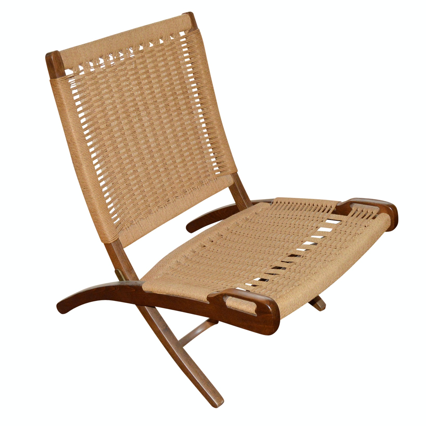 Mid Century Modern Folding Woven Rope Chair in the Style of Hans Wegner