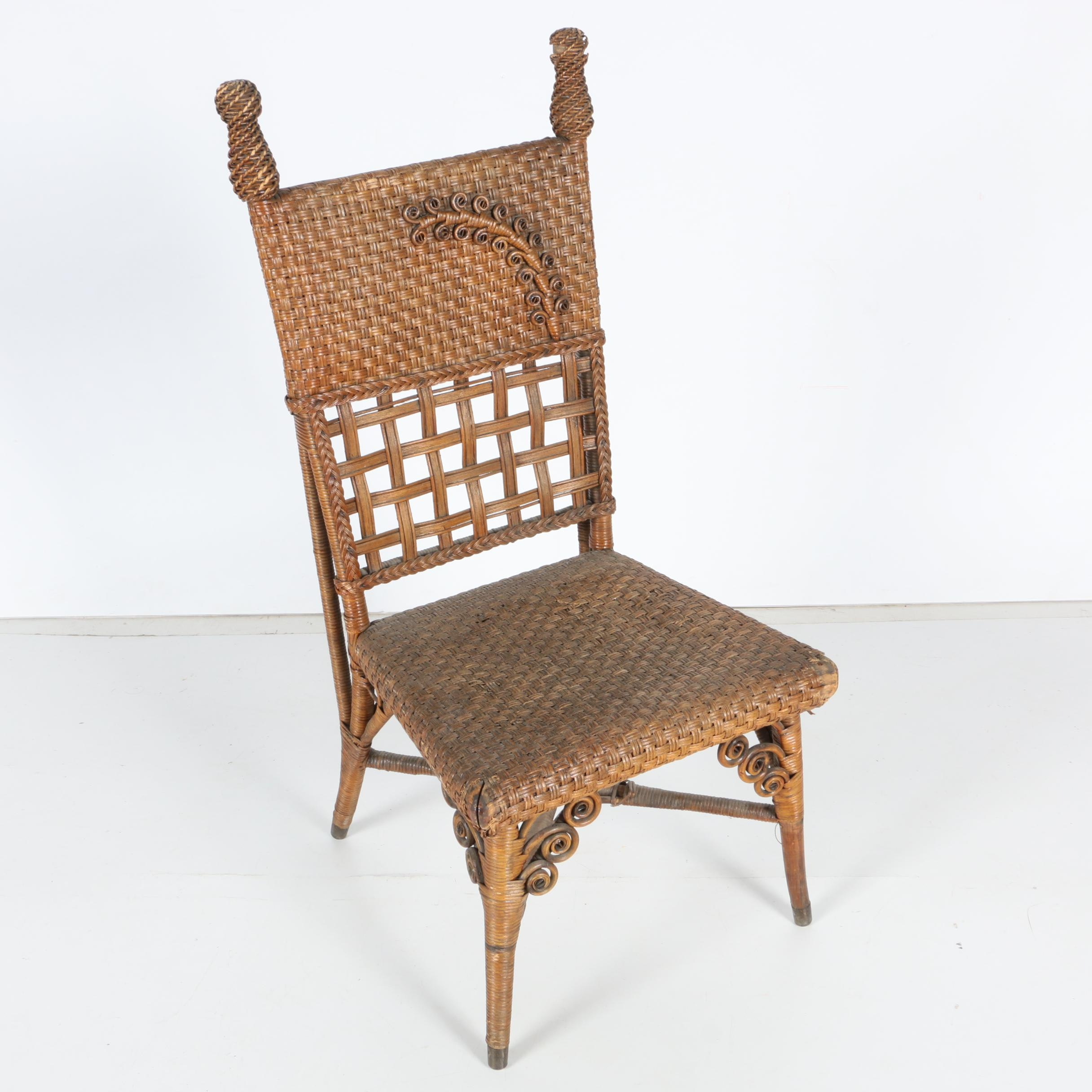 Antique Edwardian Style Woven Wicker and Bamboo Chair