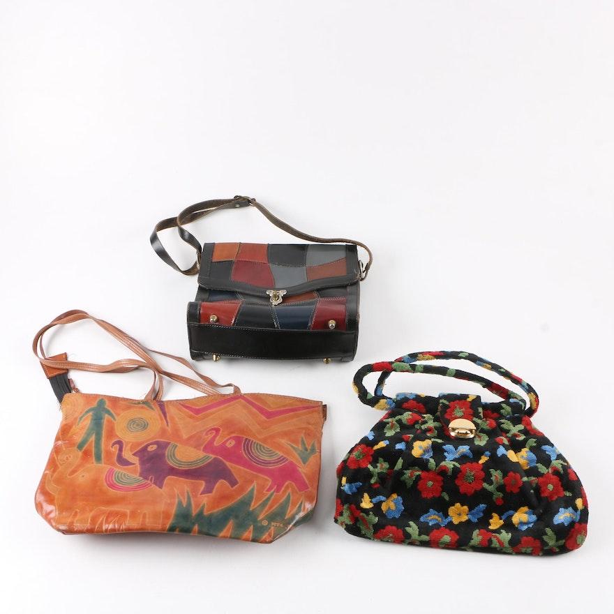 Vintage Leather And J R Florida Carpet Handbags