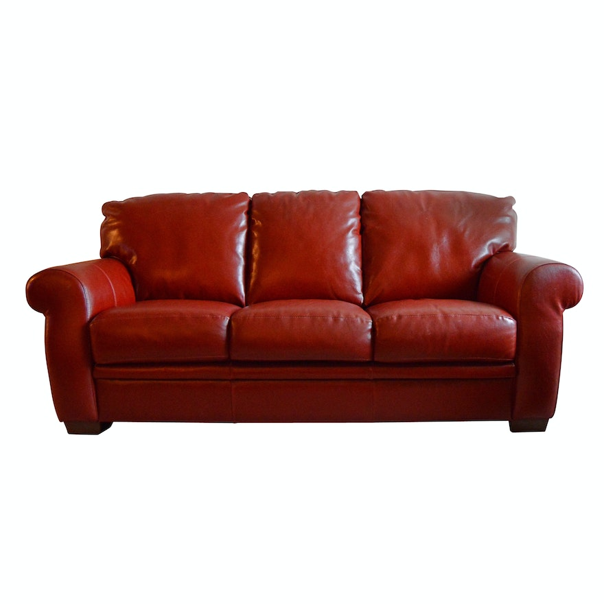 Contemporary Red Leather Three Seat Sofa