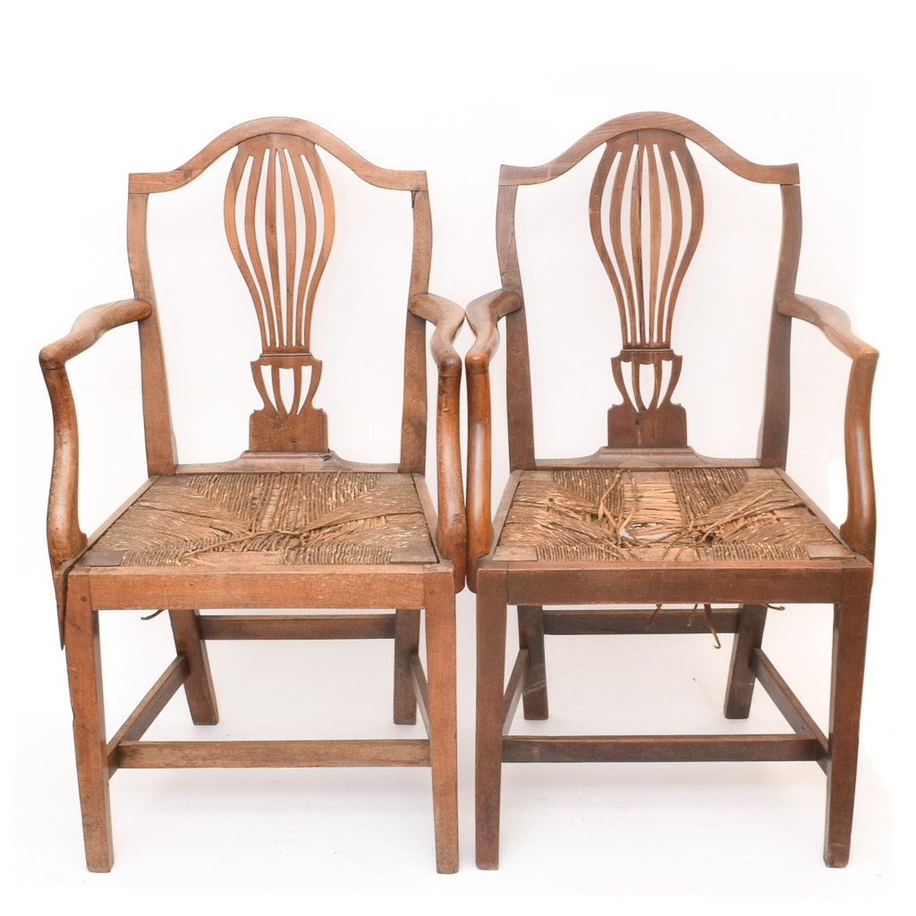 Antique Chippendale Style Rush Seat Armchairs