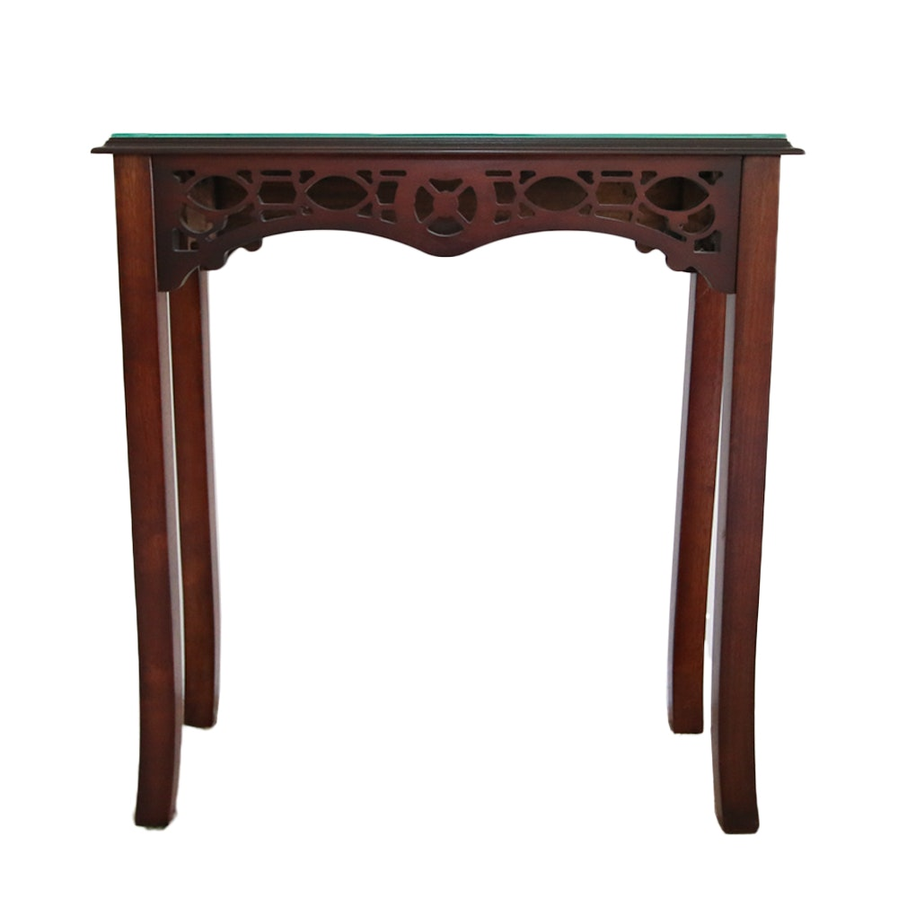 Wooden End Table with Glass Top and Fretwork Apron