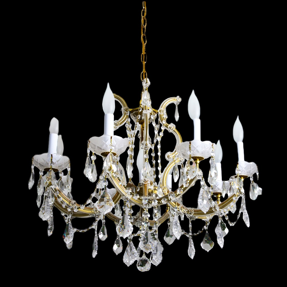 Vintage Glass and Crystal Chandelier