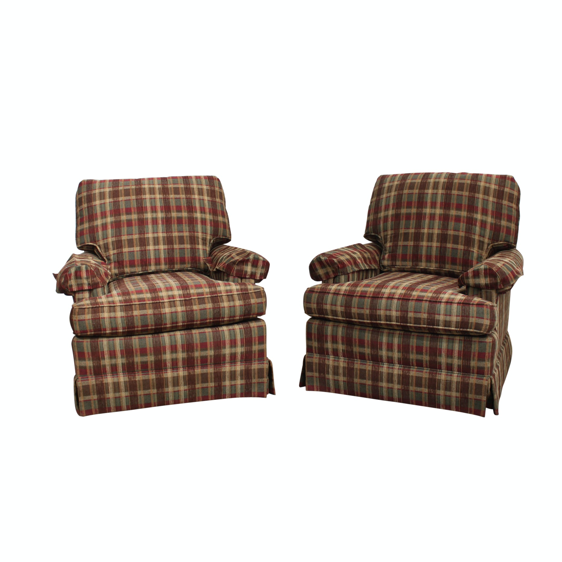 Plaid Upholstered Swivel Armchairs By Drexel ...