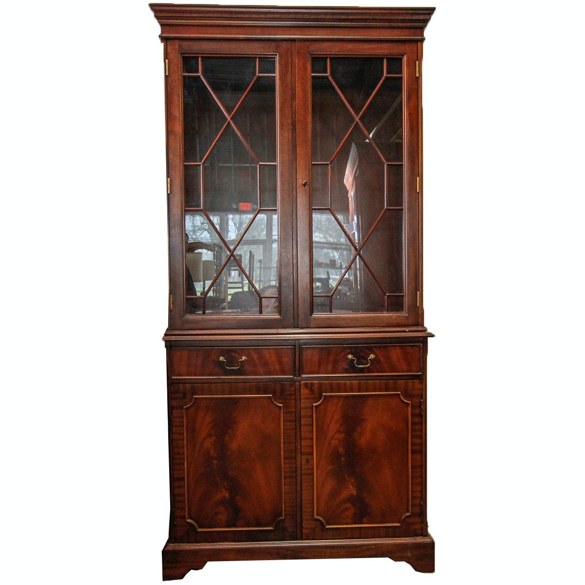 Vintage Hepplewhite Style Mahogany China Cabinet