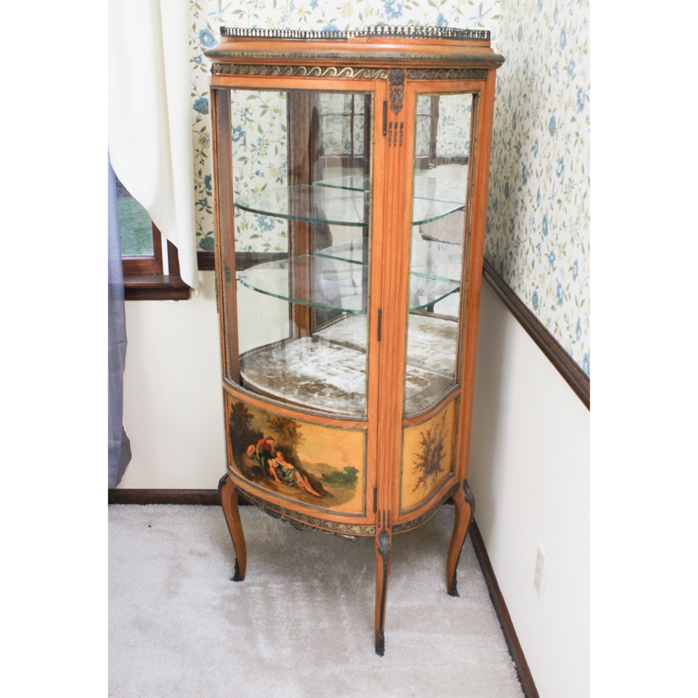Vintage Glass Front Curio Display Cabinet ...