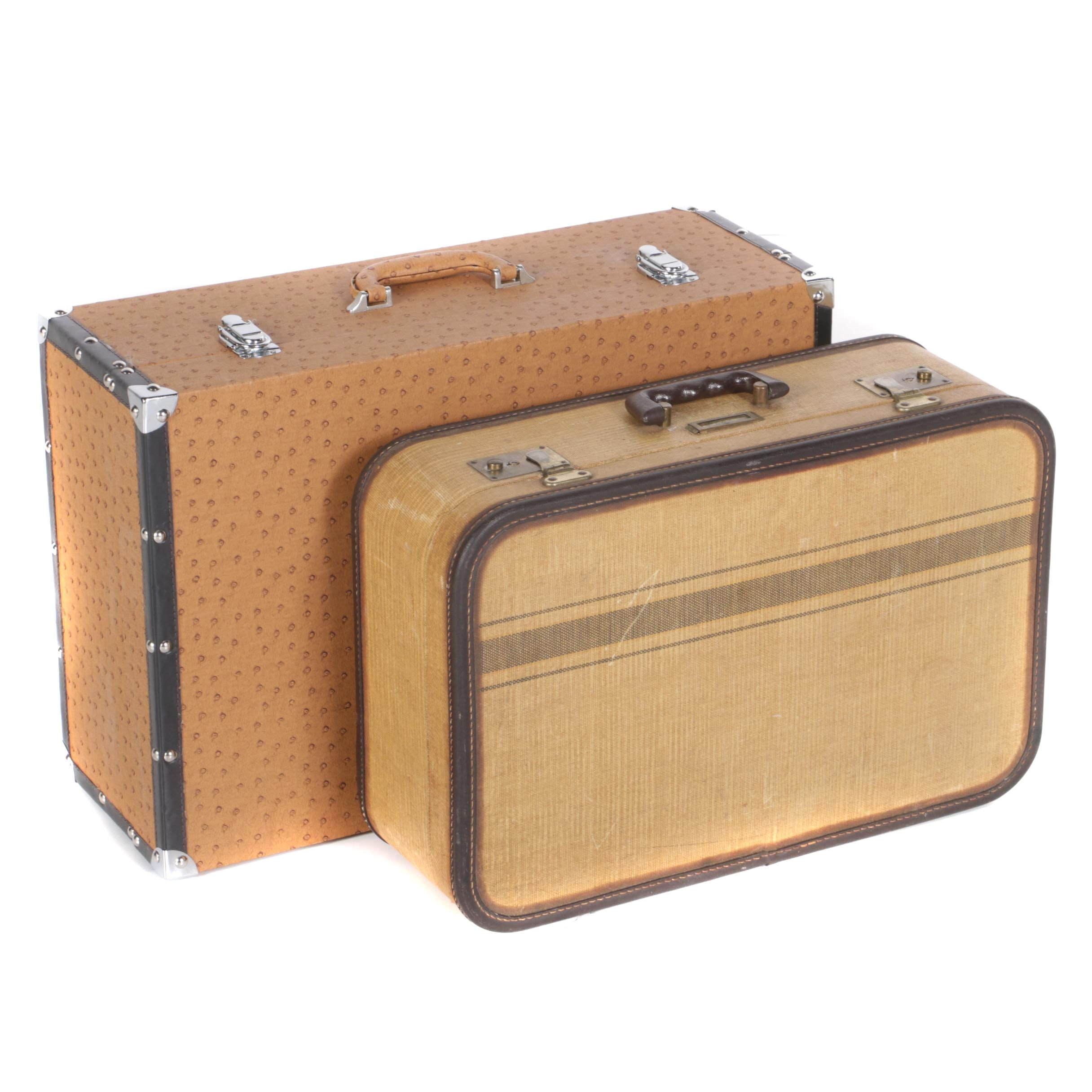 Vintage Canvas and Embossed  Ostrich Suitcases