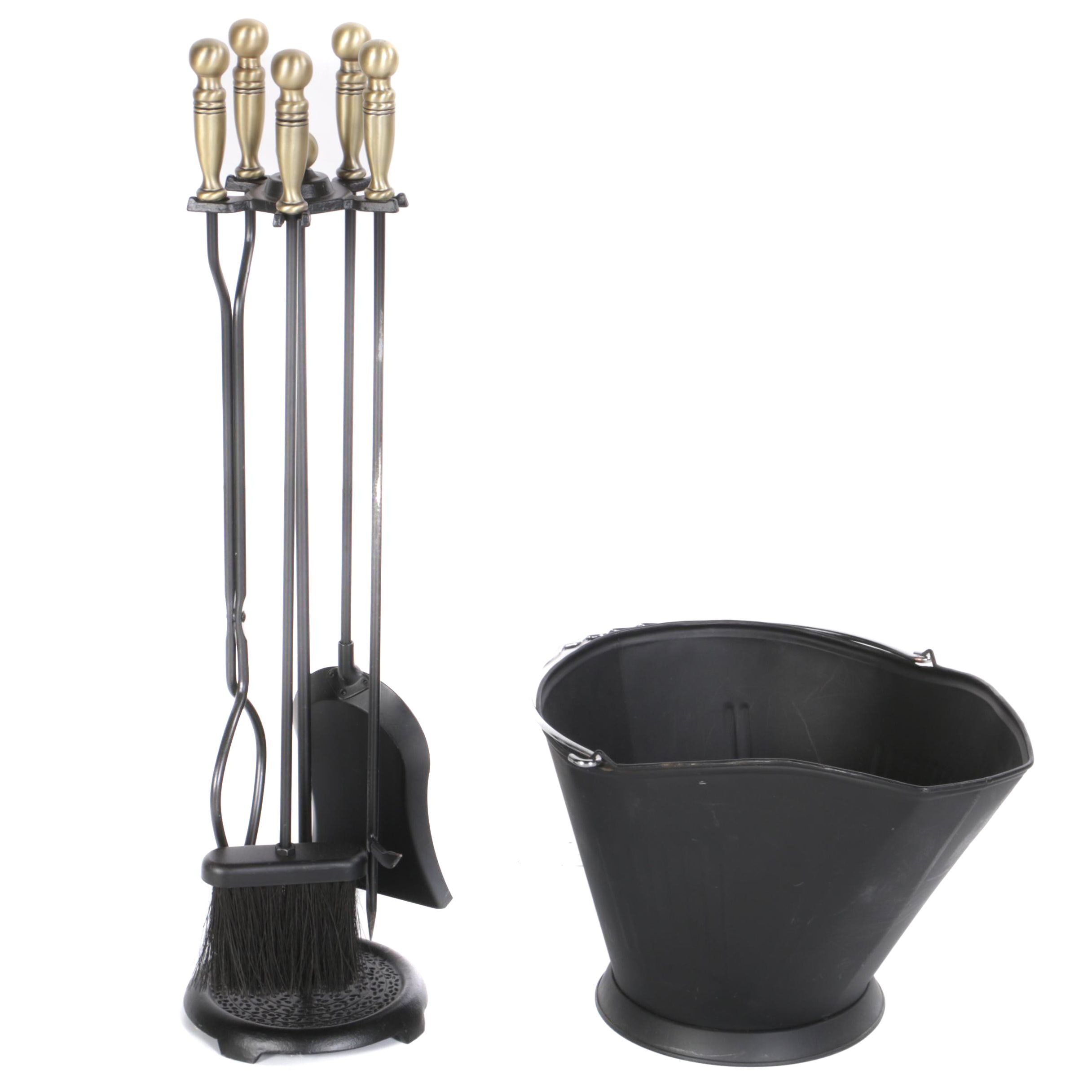Metal Fireplace Stand with Tools and Scuttle