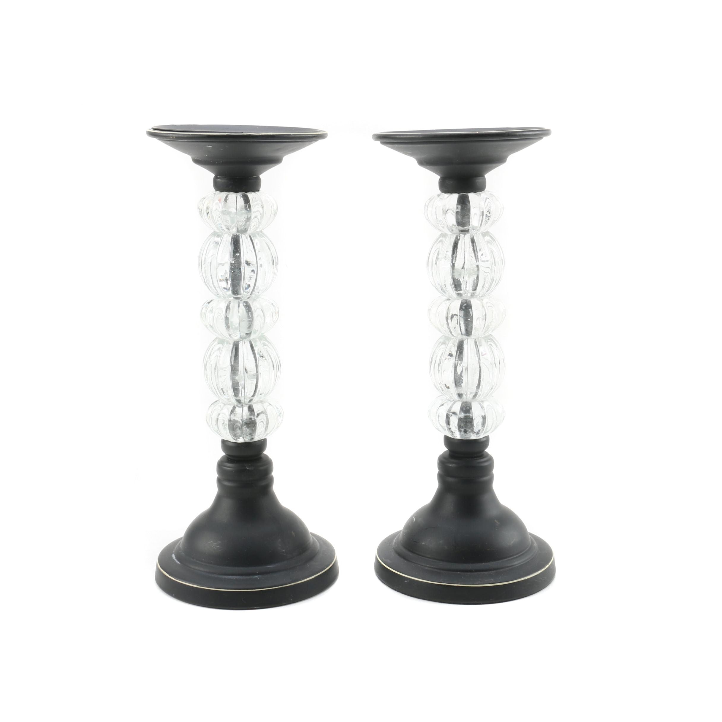 Stacked Glass Orb Candle Holders
