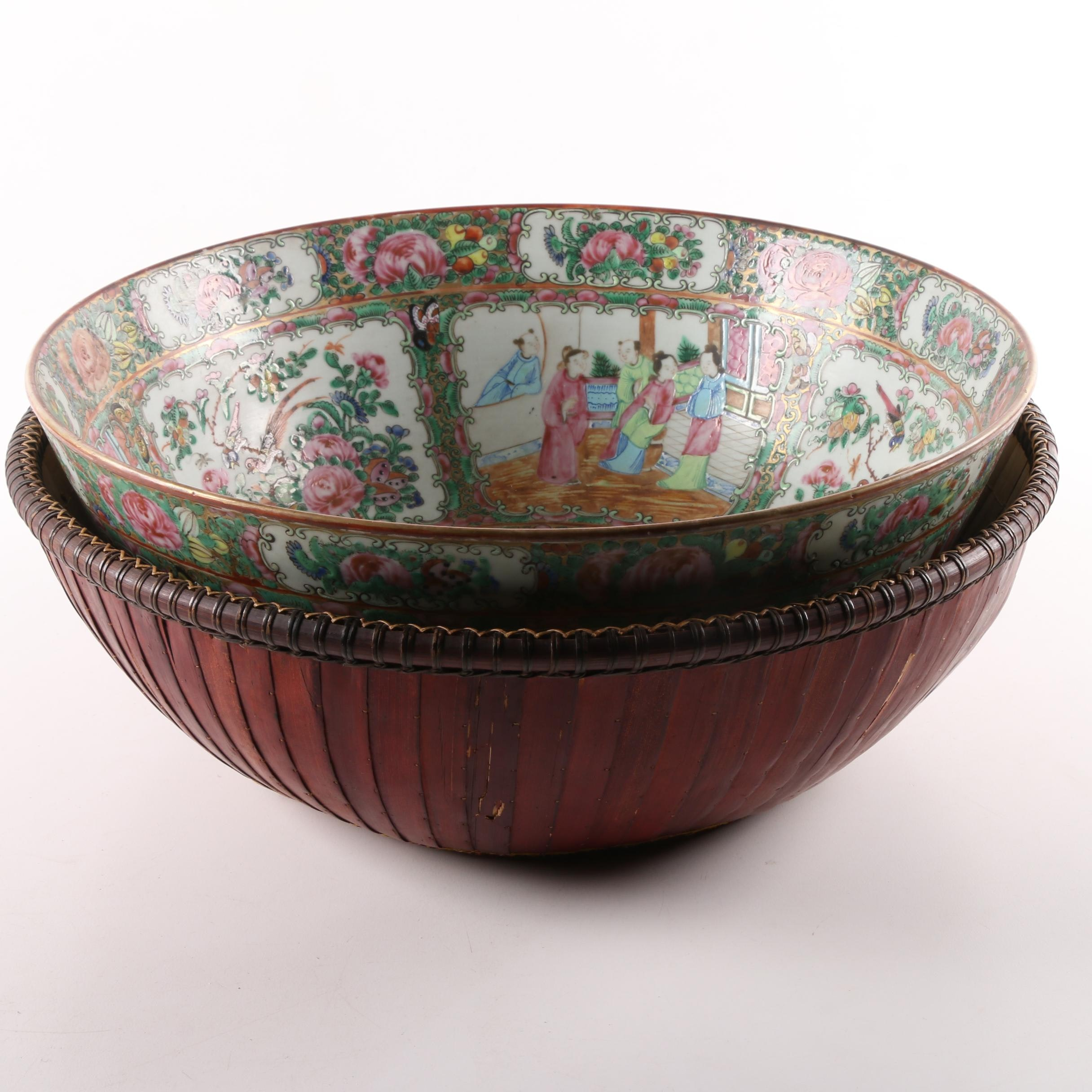 Chinese Rose Medallion Porcelain Bowl with Woven Bowl