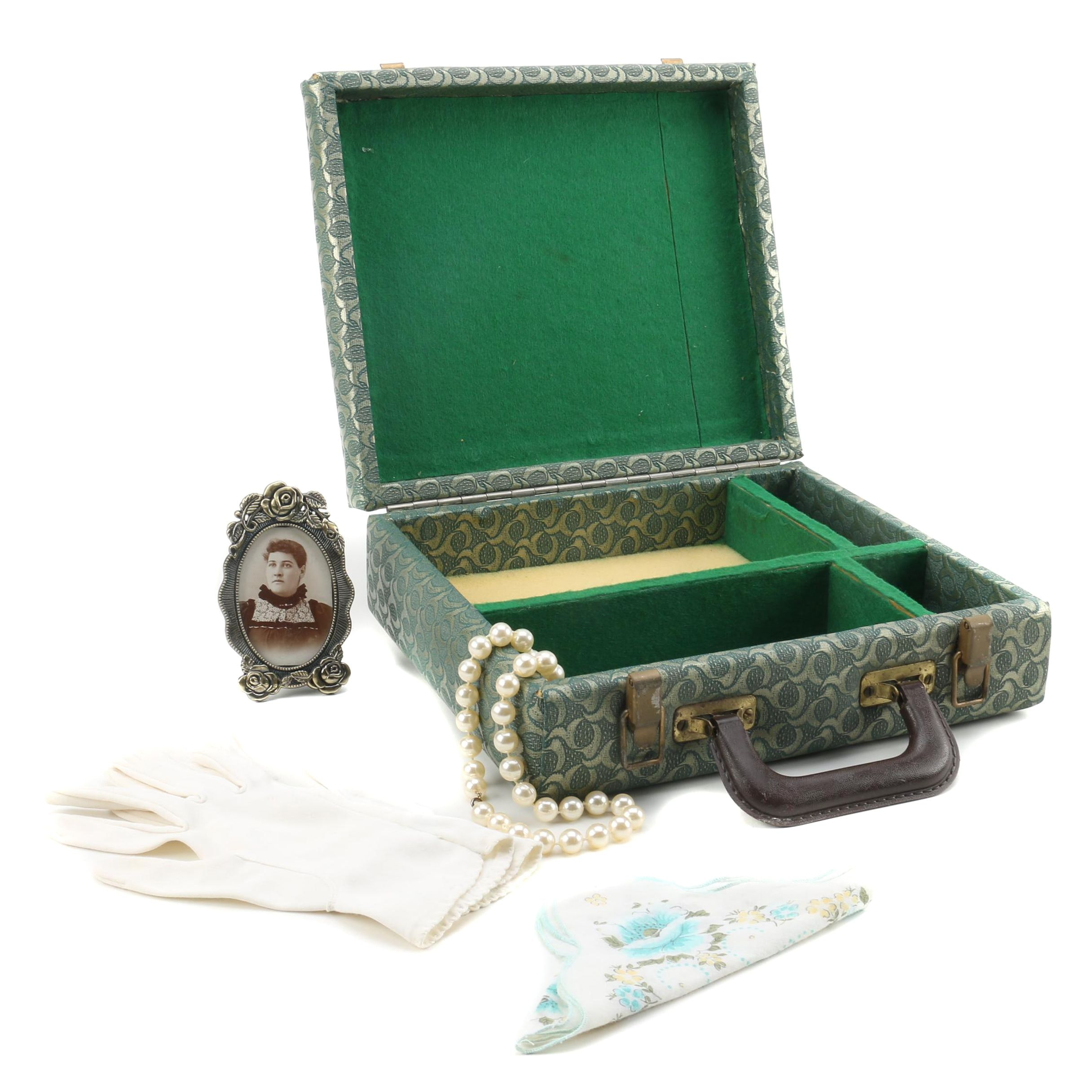 Jewelry Case with Faux Pearl Necklace, Handkerchief, Gloves and Framed Portrait