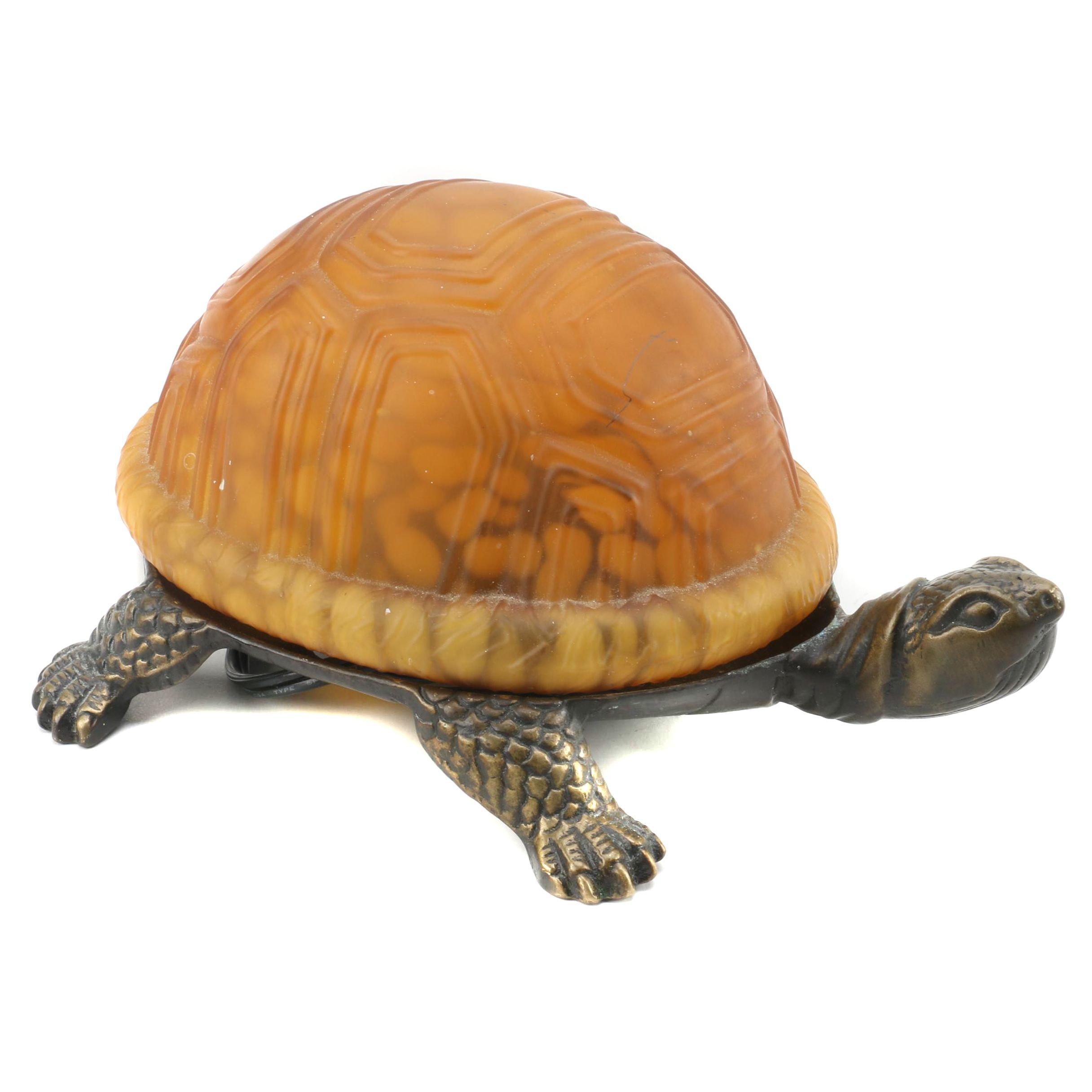 Bronze Tone Turtle Table Lamp