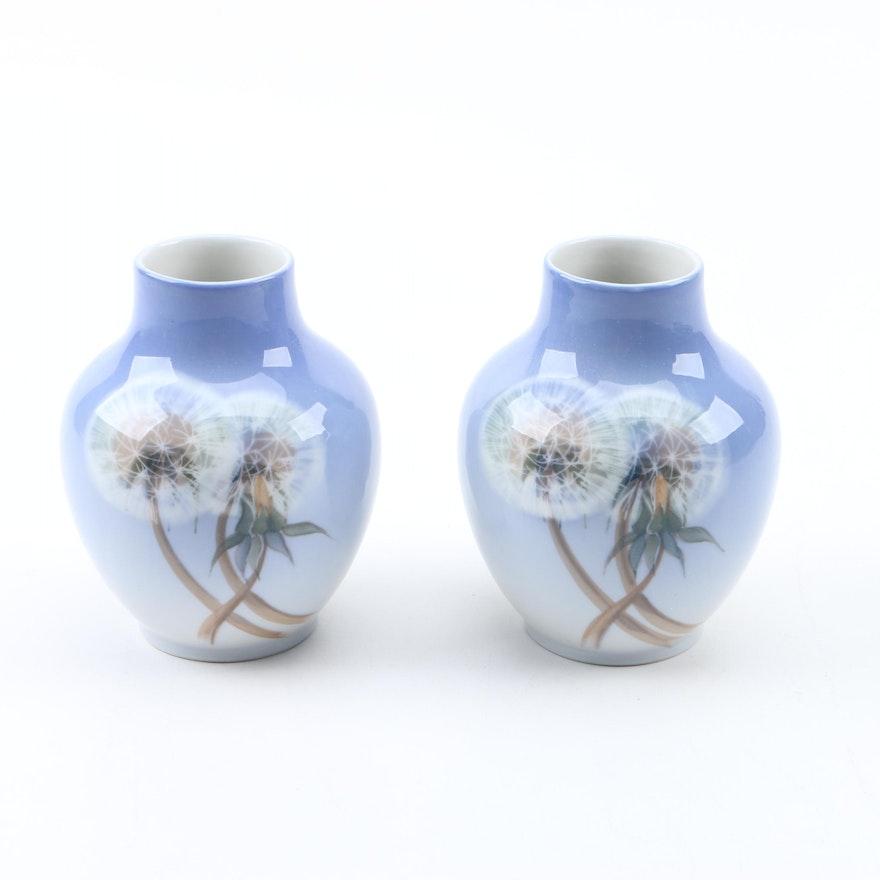 Royal Copenhagen Dandelion Porcelain Bud Vases Ebth