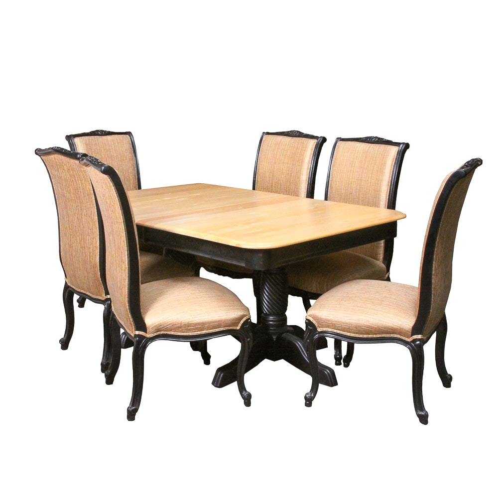 """Double Pedestal """"Merisier"""" Dining Table and Chairs"""