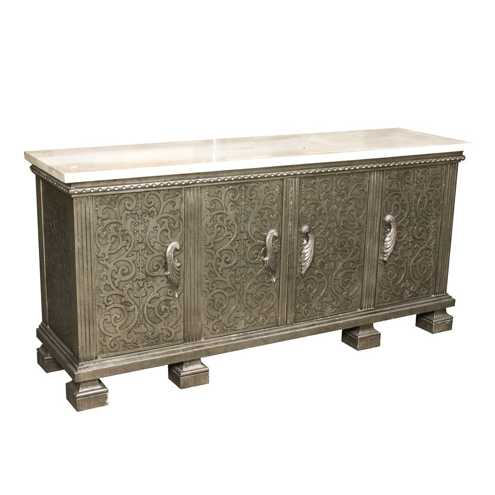 Metallic Credenza with Faux Stone Top