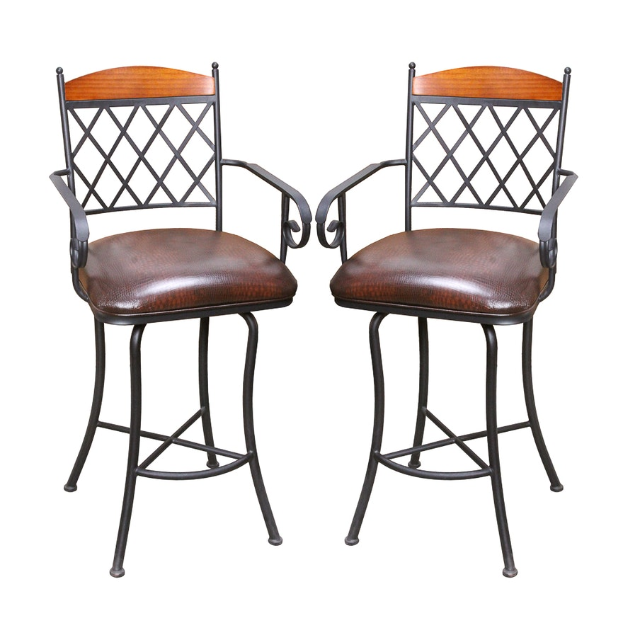 Wrought Iron Swivel Barstools By Dfi